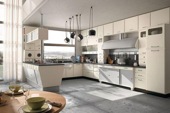 die moderne küche gestalten retro stil vintage designer küche ...