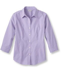 #LLBean: Wrinkle-Free Pinpoint Oxford Shirt, Three-Quarter-Sleeve Stripe