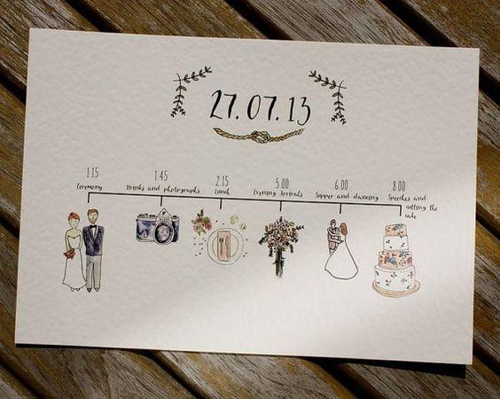 Illustrierte Hochzeit Zeitpläne - Tagesprogramm mit Aquarell-Illustrationen - einzigartige Hochzeit Briefpapier