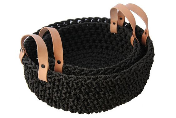 Rope basket with leather handles by crayonchick on Etsy