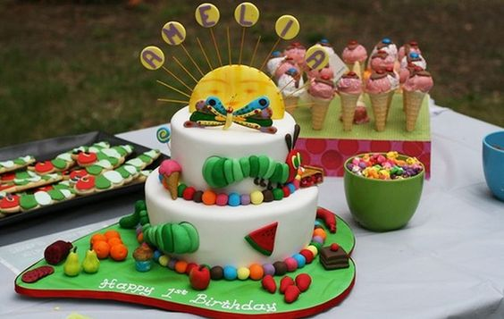 Kylie Orr was inspired by her favourite childrens book, The Very Hungry Caterpillar, to create a magical first birthday party for her daughter.