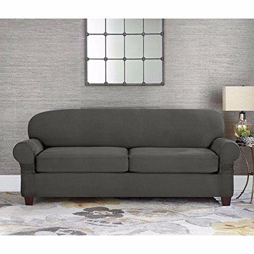 Sure Fit Designer Suede 2 Cushion Loveseat Slipcover In Gray Slipcovers Slipcovered Sofa Loveseat Slipcovers Slipcovers for loveseats with 2 cushions