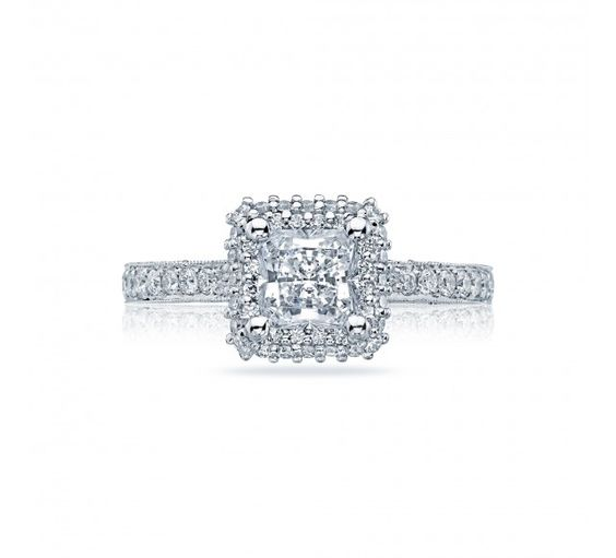 Heirloom elegance ignites and inspires on this blooming princess Engagement ring, with strings of pave diamonds bedecking the ceiling, and diamond crescent details creating a stunning, romantic profile.
