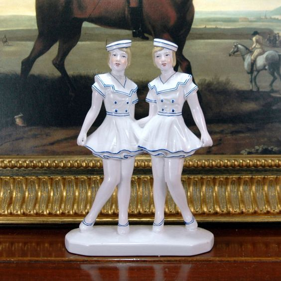Vintage Large Art Deco Ornament Figurine Ceramic Sailor Girl Flapper Nautical