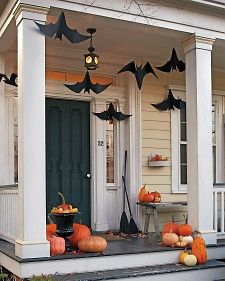 Halloween hanging bats for the front porch
