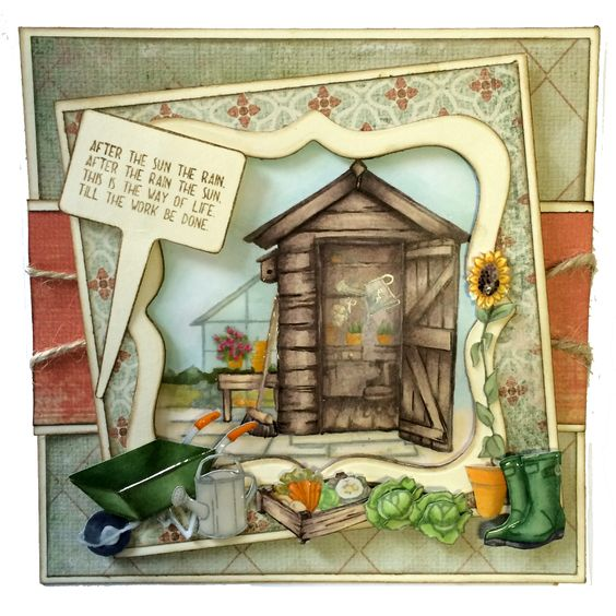This is the Gorgeous new The Allotment designed by Sharon Bennett for Hobby Art. Clear set contains 17 clear stamps as seen on Create & Craft. This Gorgeous Card was made by Sally Dodger: