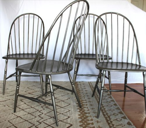 4 martha stewart bernhardt east hampton metal windsor dining chairs antique vtg ebay 1 099 for - Martha stewart dining room furniture ...