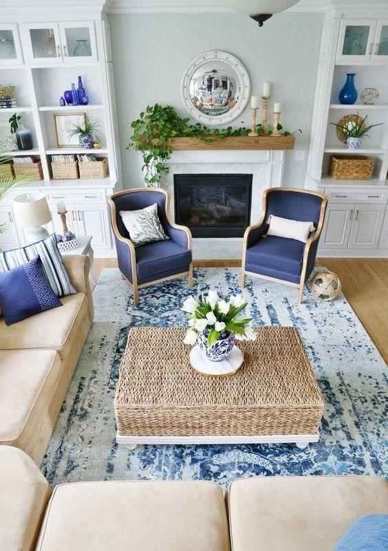 50 Amazing Sea And Beach Inspired Living Room Design Ideas Coastal Decorating Living Room Blue And White Living Room Living Room Color