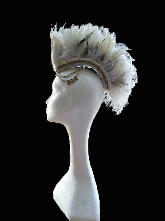 Feather Bridal Mohawk Luxury Handmade Bianca by VagabondUK on Etsy
