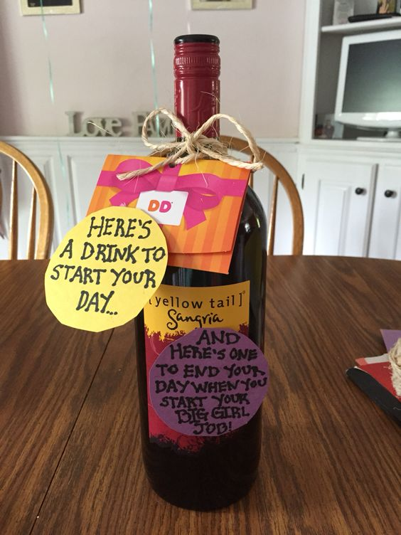 Graduation or getting a new job gift idea! A drink for the morning and a drink to have a night when you start your new big girl job!