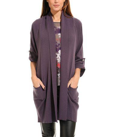 Look at this #zulilyfind! Purple Long Open Cardigan by L'Adore #zulilyfinds