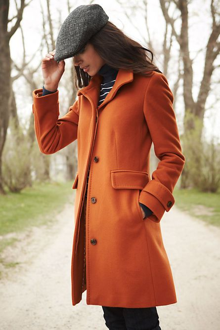 Stripes orange and a tweed cap scream fall. Wool Walker Coat