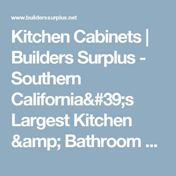 Kitchen Cabinets | Builders Surplus - Southern California's ...