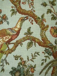 "williamsburg toile orientale plum | Olana Bayleaf by Waverly Fabrics. #673360 Width: 54"" Repeat: 13.5""H x ..."