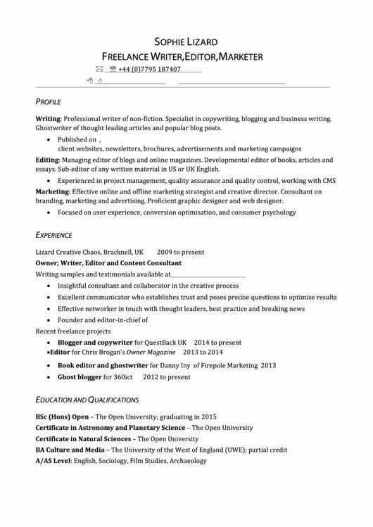 Freelance Writer Resume Sample Unique Freelance Writer Editor Marketer Resume Template Printable Pdf Freelance Writer Resume Business Writing Resume