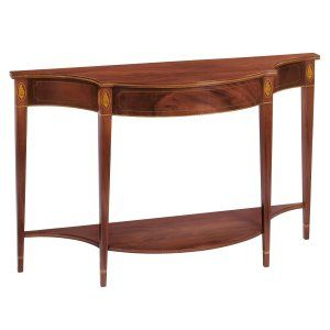 Style #FOC-4-Console table with shaped top and bottom shelf. Shown in mahogany and mahogany veneers with shell and decorative inlays, stringing and banding.
