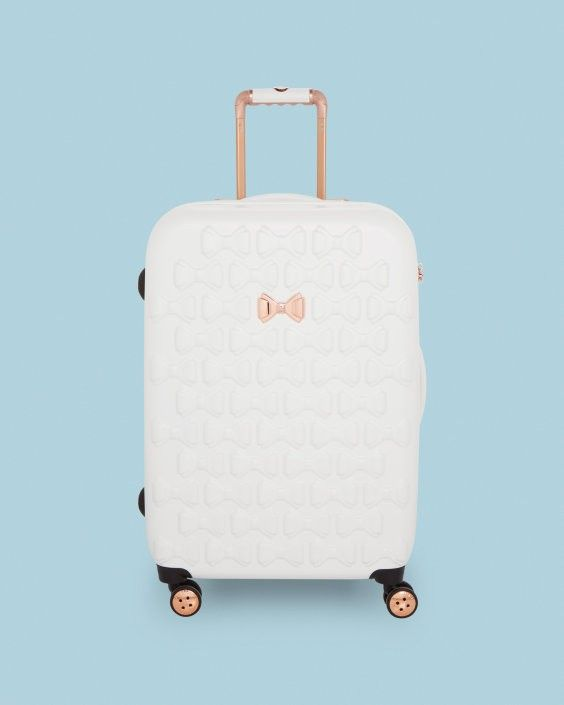 Pin By Olivia Smart On Suitcases Pink Luggage White Handbag Large Leather Handbags