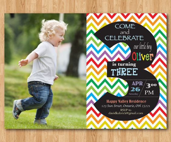 Rainbow 3rd Birthday Invitation Chevron Third Birthday Party
