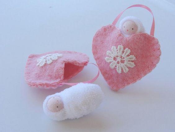 Heart ornament pocket doll hand embroidered waldorf decor valentine