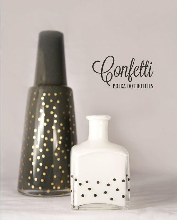 Polka dot bottles DIY via Ruffled