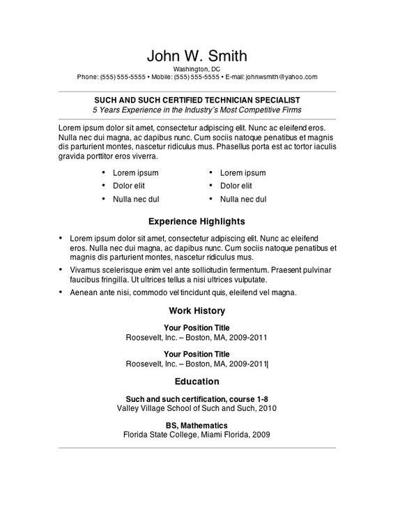 basic resumes - Google Search RESUMES Pinterest Microsoft - resume outline word