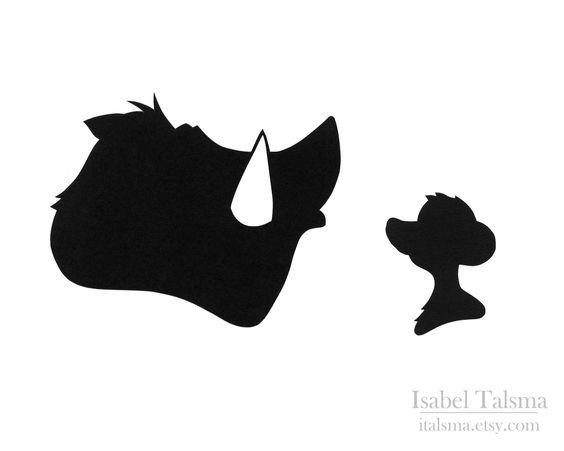 Lion King (Timon and Pumbaa) Disney Paper Silhouettes. $25.00, via Etsy.