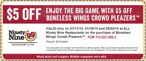 Customers Get 5 Off Boneless Wings Crowd Pleazers At Ninety Nine With Coupon On February 2 See Here Http Www Bes Boneless Wings Coupon Book Free Appetizer