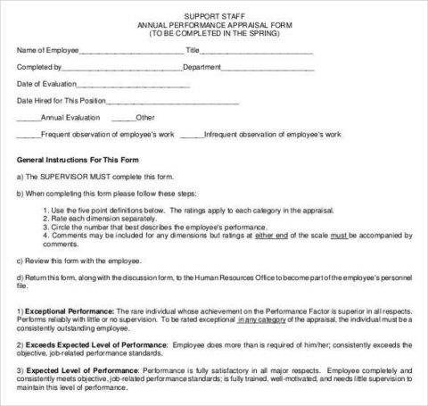 Annual Performance Appraisal Form Employee Evaluation Form Performance Appraisal Evaluation Employee