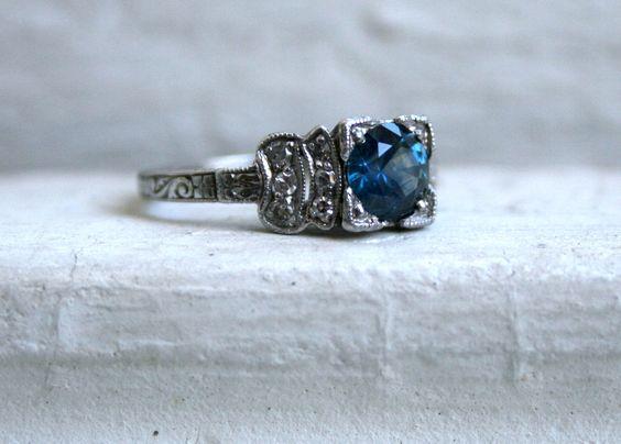 Fantastic Vintage Art Deco Platinum Sapphire Diamond Engagement Ring - 1.30ct..