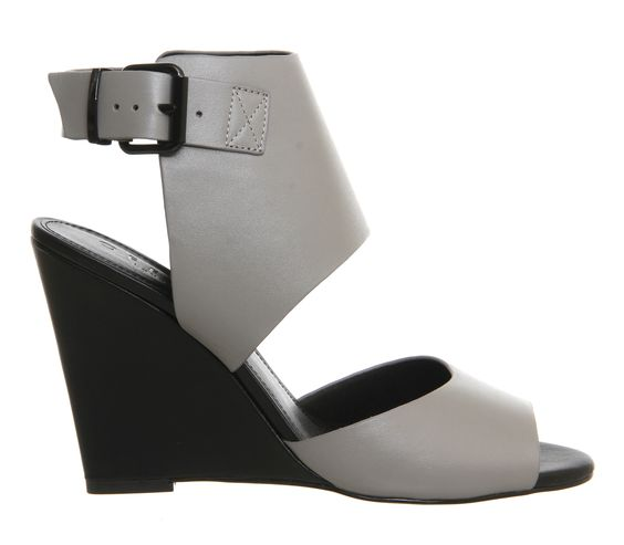 Office Pisces Single Sole Wedge Grey Leather - High Heels