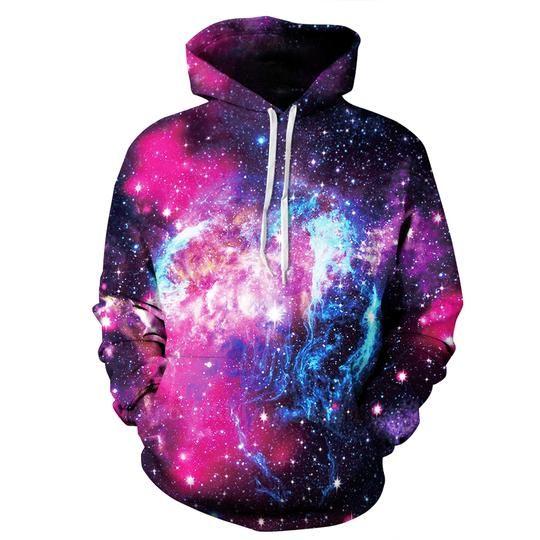 Fashion Sport hoodies Galaxy sky stars Printed Pullover Pocket hoodies S-3XL