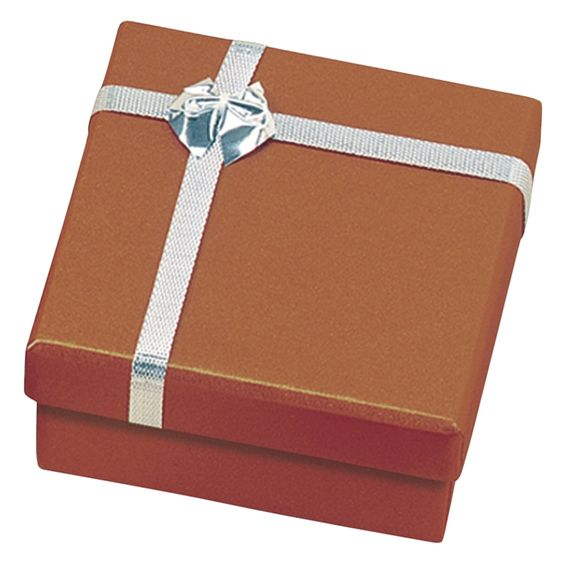 """Noble Gift Packaging's """"Ontario"""" collection of copper jewellery boxes are dressed up like little gift parcels, with a silver ribbon and bow detail on the lid. They are two-piece paper boxes with a subtle shimmer to their metallic finish."""