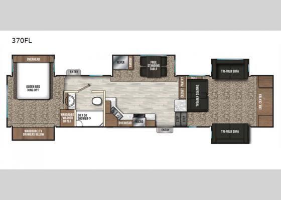 Front Living Room Floorplan 2019 Chaparral 370fl Fifth Wheel Rv Floor Plans Tiny House Family Camper Flooring