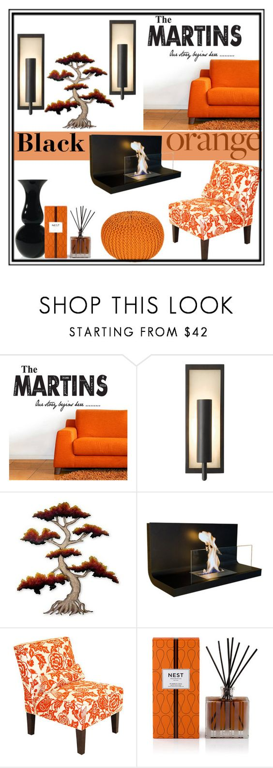 """The Martins Black and Orange"" by clotheshawg ❤ liked on Polyvore featuring interior, interiors, interior design, home, home decor, interior decorating, Murray Feiss, NOVICA, Radius Design and Skyline"