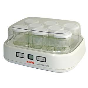 SEB - YG5001 _ Yaourtière 2 en 1 - Pour réaliser vos yaourts et fromages blancs - Format familial avec 8 pots de 125 ml + 1 grand bac 1 L avec égouttoir - Ecran LCD avec timer - Menus préprogrammés - Interrupteur on/off - Coloris Blanc/Métal - Puissance 30 W - Garantie 1 an.