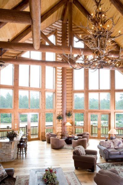 The chandelier window and logs on pinterest Log cabin chandelier