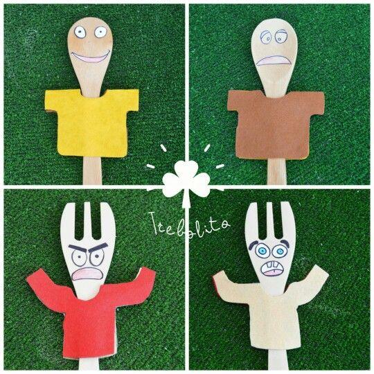 Títeres con emociones cambiantes. Todo en: http://www.trebolito.com/2016/09/11/titeres-cucharas-palo-emociones-cambiantes/