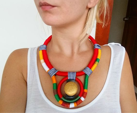 SUN Ethnic necklace Rope Necklace Thread Necklace Glass Beads Elf Necklace…                                                                                                                                                     More