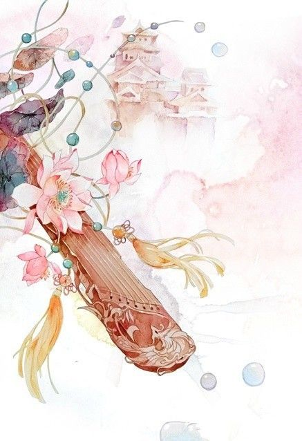 Watercolor, asian illustration