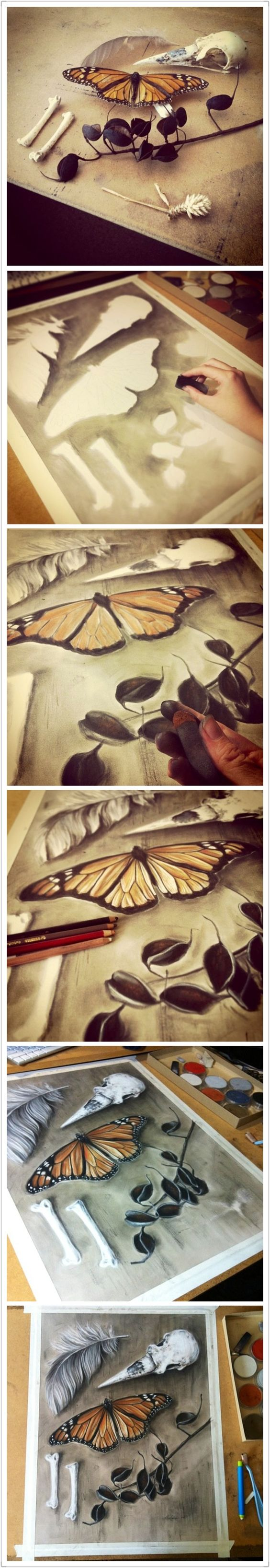 (Original as re-pinned)  How to pastel drawing -still life