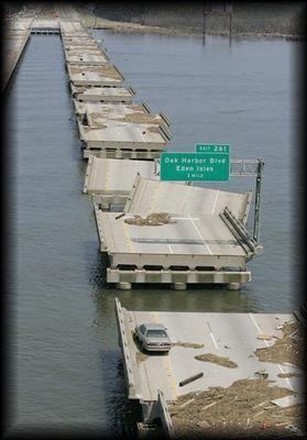 Damage to the I-10 Bridge in New Orleans | Hurricane Katrina 8-29-2005