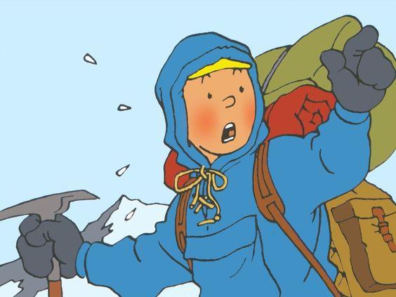 雪山を懸命に登るタンタンの画像