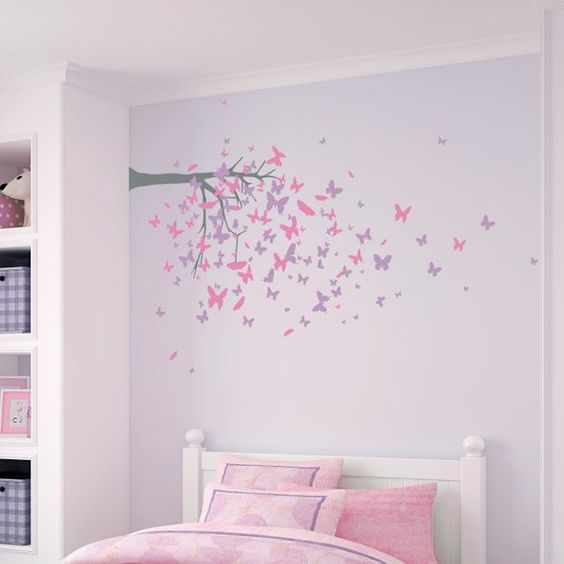 Add a whimsical theme to your little one's nursery or bedroom with this 3 color Butterfly Tree Wallums Wall Decal. Perfect as a tree or even as a branch, no matter how you place it, it's sure to be unique!PLEASE READ CAREFULLY THE FOLLOWING ORDER INSTRUCTIONS------ ► Step 1: Select the kit size in the drop down menu above. *The dimensions listed are the overall dimensions if the butterflies are installed as in the example picture. We have included the actual trunk dimensions without the butterfl
