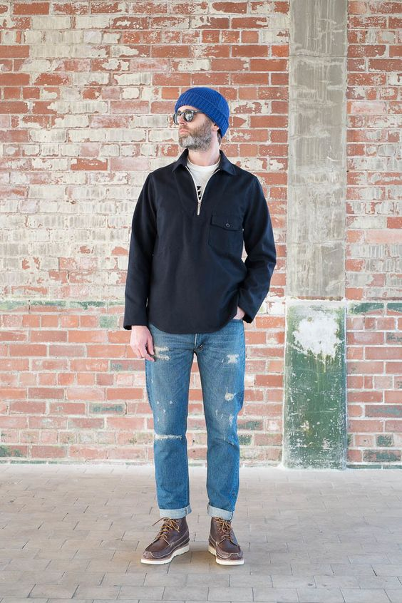 navy wool cotton serge goemon jumper by arpenteur the. Black Bedroom Furniture Sets. Home Design Ideas