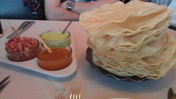 poppadom dips | we had the usual round of poppadoms and dips which