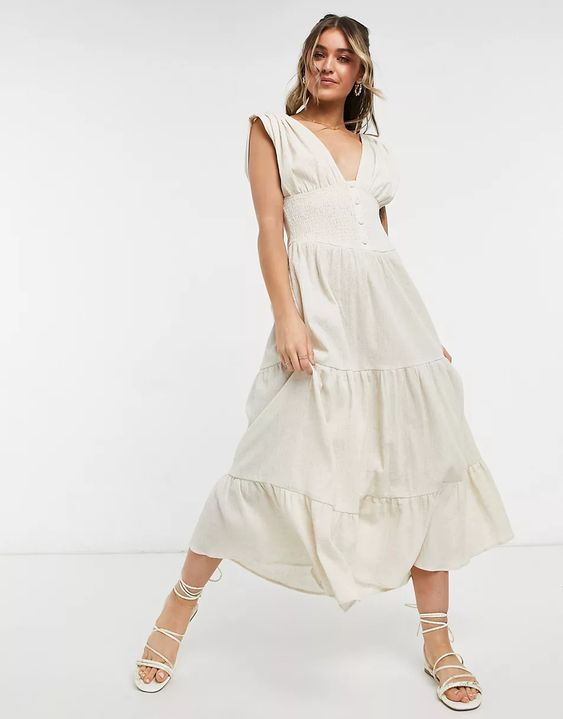 Shirred Waist Button Front Tiered Midi Sundress in Crinkle ASOS Summer Dresses