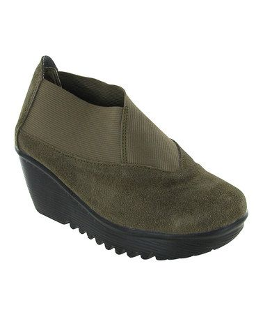 This Khaki Hush Suede Wedge by Bernie Mev is perfect! #zulilyfinds