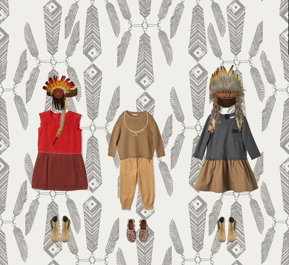 #Kids Indian Look #Bonpoint #Chloé #Feathers #NativeAmerican #LittleSquaw - More on www.identitebook.com