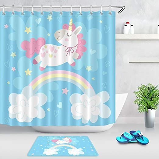 Zhhld Rainbow Cute Unicorn Bathroom Shower Curtain Bath Mat Set