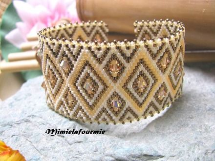 Bracelet Manchette Perle Miyuki - Triangle Créme / Bronze + Swarovski- Tissage peyote
